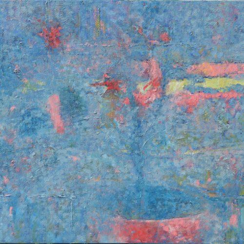 Pianta su finestra, città 2017 olio su tela su tavola 25x30 cm